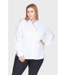 camisa acinturada bold algodão com elastano plus size -58 feminina