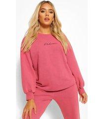 petite acid wash gebleekte oversized sweater met print, burgundy