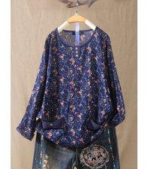 blusa manica lunga plus stampa floreale con tasche