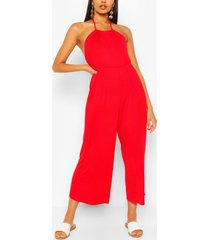 strappy jersey jumpsuit, red