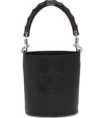 prada structured handle bucket bag - black
