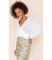 women's julianne surplice back sweater in ivory by francesca's - size: l
