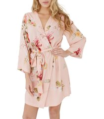 women's plum pretty sugar floral print short robe, size medium - orange