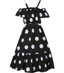 msgm black dress with white polka dots