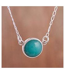 amazonite pendant necklace, 'gazing pool' (peru)