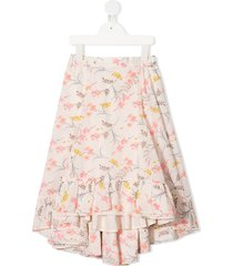 bonpoint floral-print ruffled hem skirt - pink