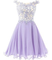 fnks women's straps lace bodice short prom gown homecoming party dress lavend...
