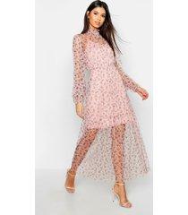 boho ditsy floral shirring detail maxi dress, rose