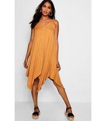 asymmetric hem strappy swing dress, mustard