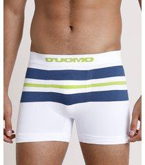 cueca masculina d'uomo boxer com listras branca