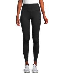 marc new york performance women's rib-knit active leggings - black - size xl