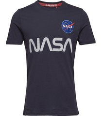 nasa reflective t t-shirts short-sleeved blå alpha industries
