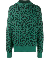 just don leopard print knit hoodie - black