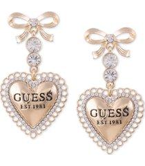 guess gold-tone crystal bow & logo heart drop earrings
