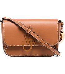 jw anderson midi chain anchor logo crossbody bag - brown