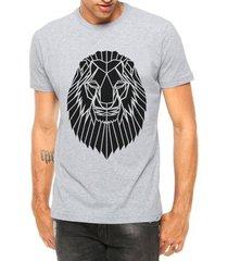 camiseta criativa urbana leão tatoo tribal manga curta