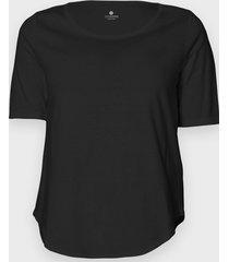damska koszulka trzy czwarte (bez nadruku, gładka) - czarna