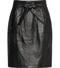 mirabella leather skirt knälång kjol svart minus