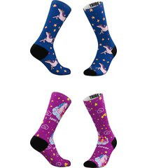 women's tribe socks assorted 2-pack sweet dreams & starry skies crew socks, size one size - blue