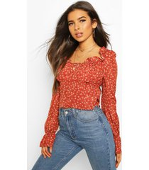 ditsy floral ruffle flute sleeve woven blouse, rust