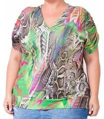 blusa confidencial extra plus size estampada feminina