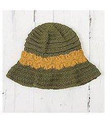 100% alpaca crocheted hat, 'sunshine field' (peru)