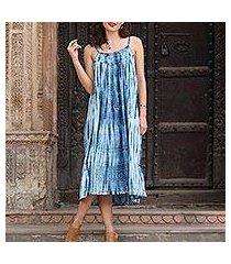 tie-dyed cotton dress, 'navy rain' (india)