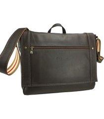 bolsa carteiro masculina para notebook em couro 9172mo