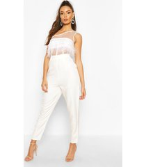 one shoulder panelled feather trim jumpsuit, white