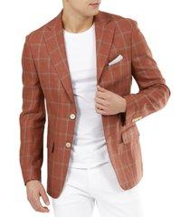 tallia men's slim-fit burnt orange windowpane linen blazer