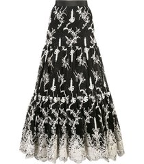 alexis tiered lace skirt - black