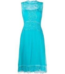 alberta ferretti sheer-panel lace dress - blue