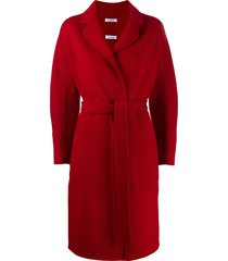 p.a.r.o.s.h. belted midi coat - red