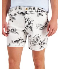 """club room men's regular-fit 7"""" tropical-print shorts, created for macy's"""