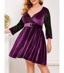 flocked mesh panel velvet plus size surplice dress