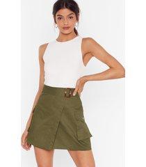 womens work for it utility mini skirt - khaki