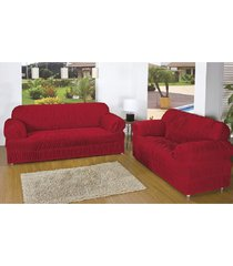 capa para sofá casa dona 21 elasticos 2 e 3 lugares vermelha