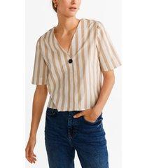 mango button front stripe shirt