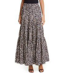 women's la doublej big leopard print convertible tiered maxi skirt, size small - brown