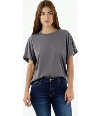 camiseta de mujer, cuello redondo manga corta, color gris
