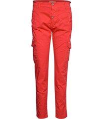 cargo cotton byxa med raka ben röd please jeans