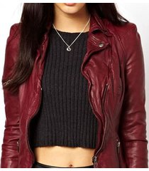 handmade lycra biker jacket in cowhide leather, maroon color leather jacket
