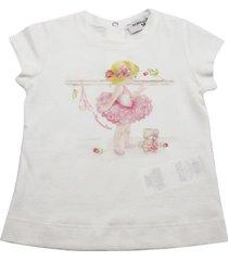 monnalisa short sleeve crew neck t-shirt with little dancer print