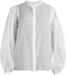 frame women's smocked vintage-style blouse - vintage blush - size xs