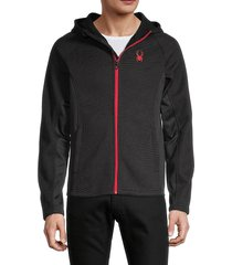 spyder men's zip-front hooded jacket - black - size s