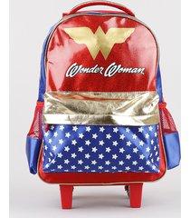 mochila escolar infantil mulher maravilha com rodinhas azul