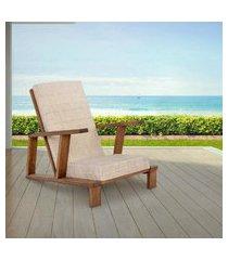 cadeira poltrona para descanso em madeira casa e jardim robust - bege