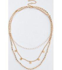 river island womens gold colour pearl layered choker neckalce