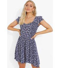 bloemenprint mini jurk met kapmouwen, blue