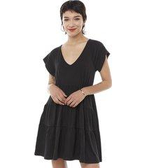 vestido corto manga corta escalonado negro mujer corona
